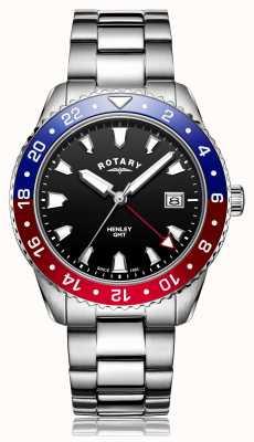 Rotary |紳士ステンレススチールブレスレット| Jewelry-stores.co.ukブラックダイヤル| GB05108/30