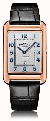 Rotary |紳士黒革ストラップ|ローズゴールドケース|写真ローズゴールドケース GS05284/70