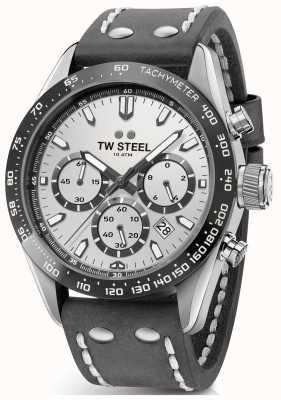TW Steel |メンズダークグレーレザーストラップ|シルバーダイヤル| CHS3