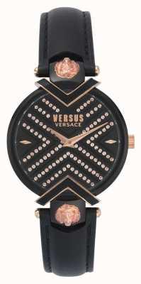 Versus Versace |レディースブラックレザーストラップ|柄ダイヤル|写真柄ダイヤル VSPLH1519