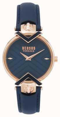 Versus Versace |ローズゴールドレディースブルーレザーストラップ - 安い、ディスカウント価格 VSPLH0419