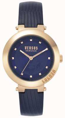 Versus Versace |レディースブルーレザーストラップ|ローズゴールドケース| VSPLJ0419