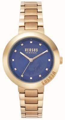 Versus Versace レディースローズゴールドブレスレット|ブルーダイヤル| VSPLJ0819