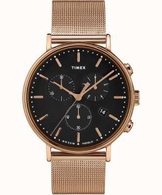 Timex |フェアフィールドクロノブラックダイヤル|ベクターイラスト| CLIPARTOローズゴールドトーンケース|ベクターイラスト| CLIPARTO TW2T37100D7PF