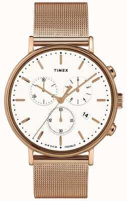 Timex |フェアフィールドクロノホワイトダイヤル|ベクターイラスト| CLIPARTOローズゴールドトーンケース|ベクターイラスト| CLIPARTO TW2T37200D7PF