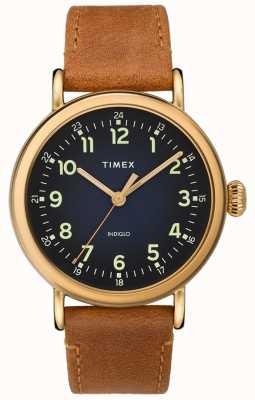 Timex |タン革ストラップブルーダイヤル| TW2T20000D7PF