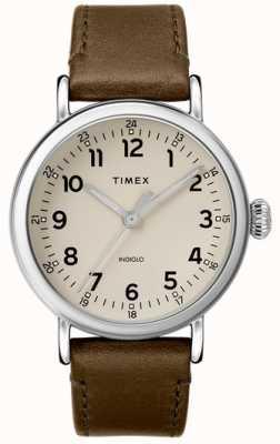 Timex |メンズオリーブレザーストラップ|グレーダイヤル| TW2T20100D7PF