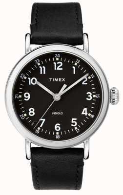 Timex |メンズブラックレザーストラップ|ブラックダイヤル| TW2T20200D7PF