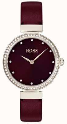 Boss |レディースバーガンディレザーストラップ 1502481