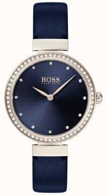 Boss |レディースブルーレザーストラップ|ベクターイラスト| CLIPARTOブルーダイヤル| 1502477