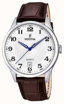 Festina メンズステンレス鋼|ブラウンレザーストラップ|シルバーダイヤル| F20426/1