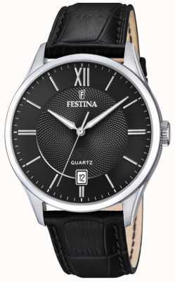 Festina |メンズステンレス鋼|ブラックレザーストラップ|ブラックダイヤル| F20426/3
