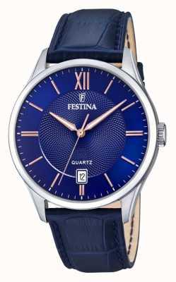 Festina |メンズステンレス鋼|ブルー/ローズダイヤル|ブルーレザー F20426/5