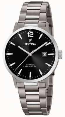 Festina |メンズチタンウォッチ|ブラックダイヤル|チタンブレスレット|写真チタンブレスレット F20435/3