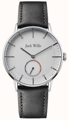 Jack Wills |メンズバットソンiiブラックレザーストラップ|ホワイトダイヤル| JW002SLBK
