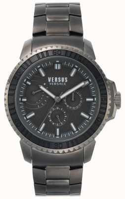 Versus Versace |メンズブラックダイヤル|グレーステンレススチールブレスレット VSPLO0819