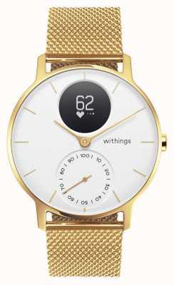 Withings スチールhr 36mm限定エディションゴールドミラノ(+ラバーストラップ) HWA03B-36WHT-GOLD-MESH GOLD-ALL-INT
