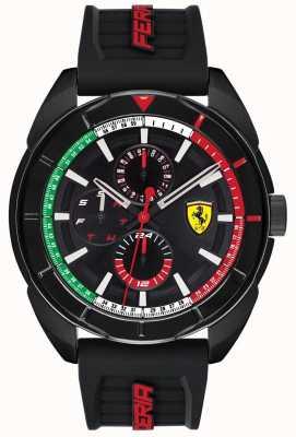 Scuderia Ferrari |メンズフォルツァ|ブラックラバーストラップ|ブラッククロノグラフダイヤル| 0830577