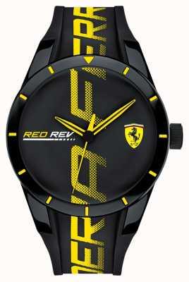 Scuderia Ferrari |メンズブラックラバーストラップ|写真ブラックラバーストラップブラックダイヤル| 0830615