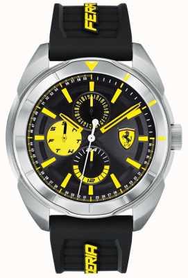 Scuderia Ferrari |メンズフォルツァブラックラバーストラップ|写真ブラックラバーストラップブラック/イエローダイヤル| 0830575