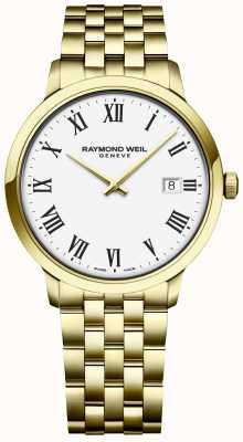Raymond Weil |メンズトッカータ|ゴールドステンレスブレスレット|ホワイトダイヤル 5485-P-00300