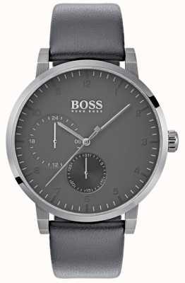Boss メンズ酸素グレーレザーストラップグレーダイヤル 1513595