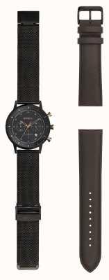 Breil |紳士黒染めスチールメッシュウォッチ| Jewelry-stores.co.uk可変ストラップ TW1808