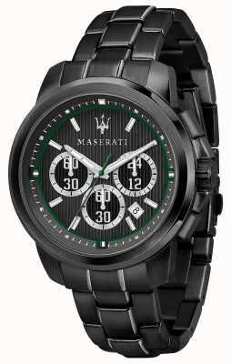 Maserati ロイヤルクロノグラフブラックダイヤルブラックpvdメッキスチール R8873637004