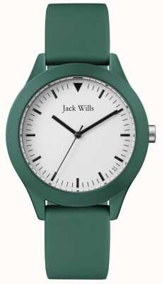 Jack Wills |紳士グリーンラバーストラップ|ベクターイラスト| CLIPARTOホワイトダイヤル| JW009GRGR