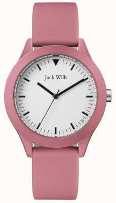 Jack Wills |紳士ピンクラバーストラップ|ベクターイラスト| CLIPARTOホワイトダイヤル| JW009JWPK