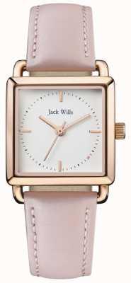 Jack Wills |ピンクのレザーストラップをおだてている女性ホワイトダイヤル| JW016WHPK