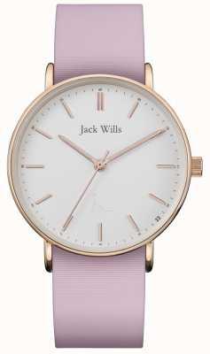 Jack Wills |レディースサンドヒルピンクシリコンストラップ|ホワイトダイヤル| JW018WHPK