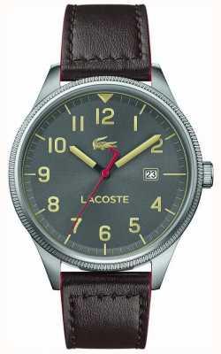 Lacoste |メンズコンチネンタルブラウンレザーストラップ|グレーダイヤル| 2011020