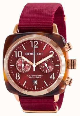 Briston クラシッククラブマンアセテートゴールドレッドナトーストラップ 15140.PRA.T.8.NBDX
