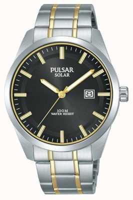 Pulsar メンズソーラー|ツートンカラーのステンレススチールブレスレット|ブラックダイヤル PX3169X1