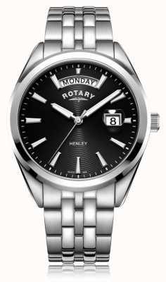 Rotary |メンズヘンリーブラックダイヤル|ステンレススチールブレスレット|写真ステンレススチールブレスレット GB05290/04