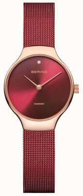 Bering |レディースチャリティーウォッチ|赤いメッシュストラップ|ベクターイラスト| CLIPARTO赤いダイヤル| 13326-CHARITY