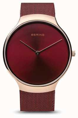 Bering |レディースチャリティーウォッチ|赤いメッシュストラップ|ベクターイラスト| CLIPARTO赤いダイヤル| 13338-CHARITY
