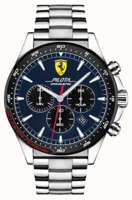 Scuderia Ferrari |男子パイロットステンレススチールブレスレット|写真ステンレススチールブレスレットブルーダイヤル| 0830598