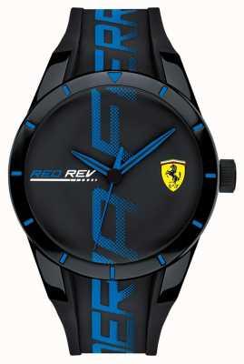 Scuderia Ferrari |メンズブラックブルーシリコンストラップ|ブラックダイヤル| 0830616