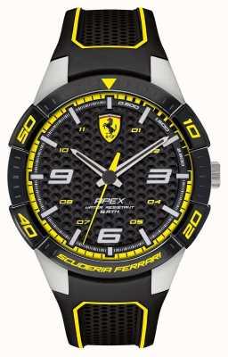 Scuderia Ferrari |メンズアペックスブラックラバーストラップ|写真ブラックラバーストラップブラック/イエローダイヤル| 0830631