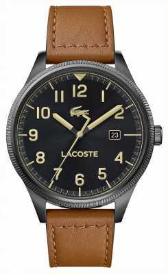 Lacoste |メンズコンチネンタル|茶色の革ストラップ|ブラックダイヤル| 2011021