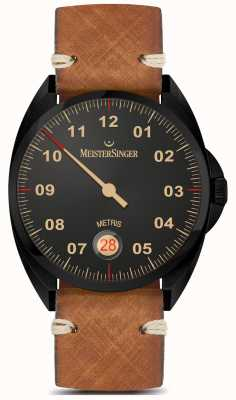 MeisterSinger Metris  - ブラックラインブラウンレザーストラップブラックダイヤル ME902BL