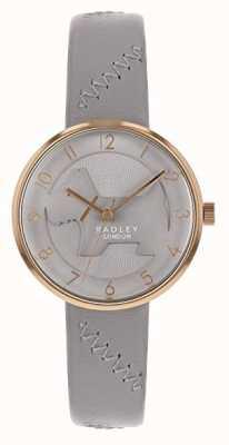 Radley |レディースグレーレザーストラップ|グレーエンボスドッグダイヤル|ベクターイラスト| CLIPARTO RY2804