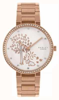 Radley |レディースローズゴールドスチールブレスレット| Jewelry-stores.co.ukホワイトツリーモチーフダイヤル|ベクターイラスト| CLIPARTO RY4388