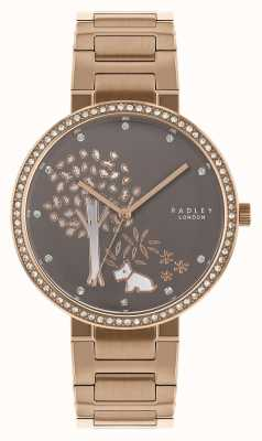 Radley |レディースローズゴールドスチールブレスレット|ホワイト/グレーツリーダイヤル| RY4386