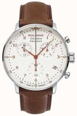 Iron Annie バウハウス|クロノ|ホワイトダイヤル|茶色の革 5096-4