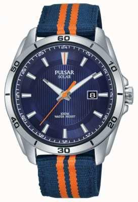 Pulsar |メンズブルーダイヤル|ブルー/オレンジファブリックストラップ| PX3175X1