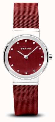 Bering レディース|クラシック|赤いPVDスチールメッシュブレスレット 10126-303