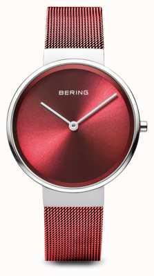 Bering レディース|クラシック|赤いPVDメッキスチールメッシュブレスレット 14531-303